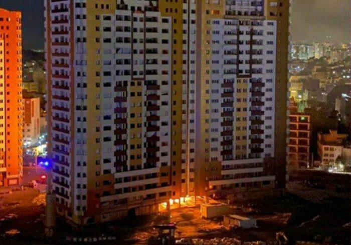 آتش سوزی در ساختمان ۲۱ طبقه در تبریز